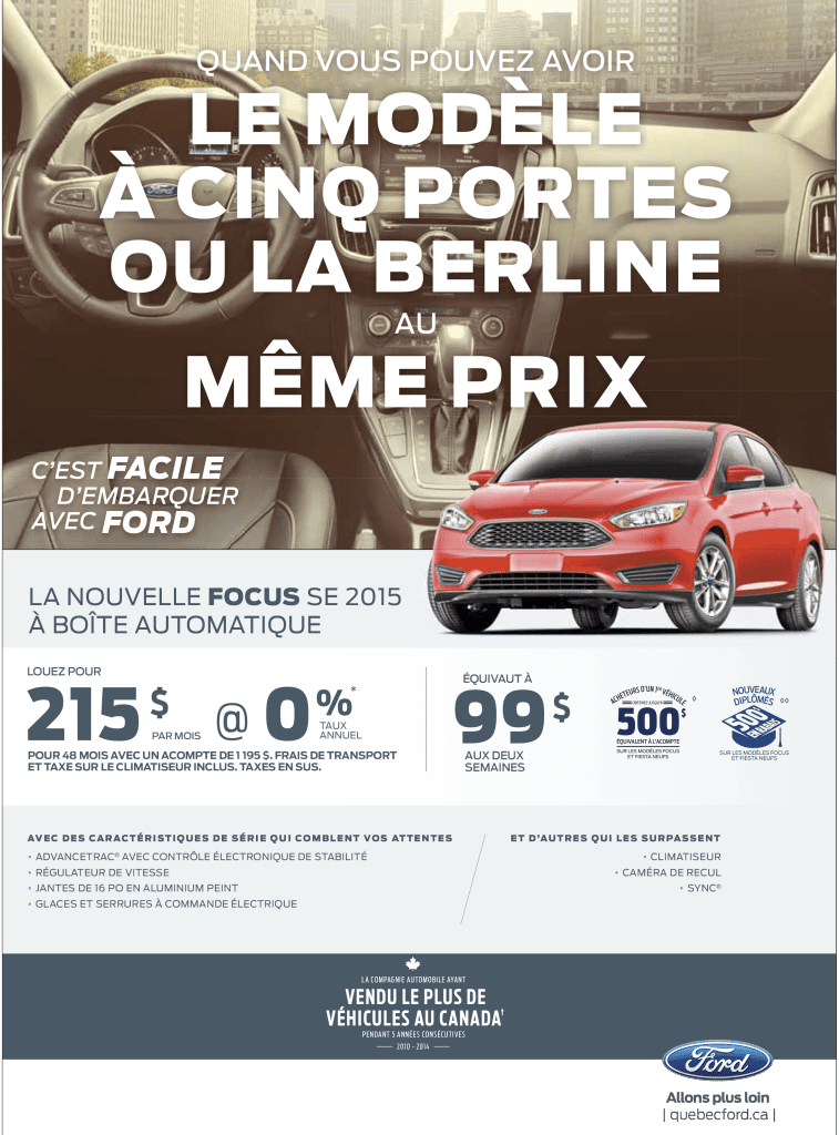 Promotion Ford Canada | Ford Focus SE 2015 | Mai 2015